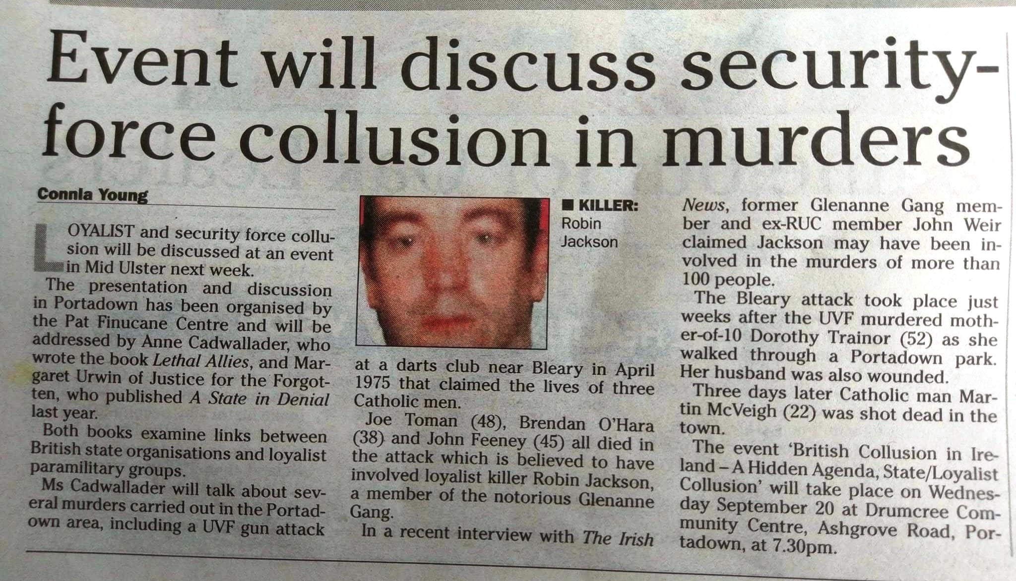 Irish News article giving details of the event