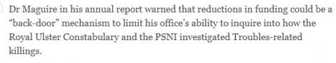 "Irish Times Reports Ombudsman's Concerns re ""Back Door"" Mechanism to Delay Truth"