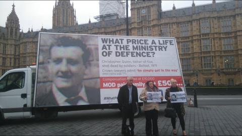 Christopher Quinn's family and Paul O'Connor in front of Christopher's advan