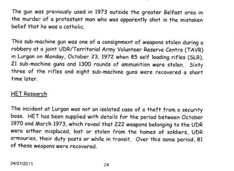 HET report on theft from Lurgan UDR base October 1972