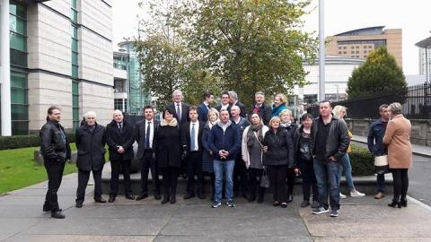 Families Gather Outside Belfast High Court With Their Solicitor, Darragh Mackin of KRW Law and their barrister, Danny Friedman QC