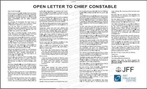 Letter to Chief Constable re Glenanne