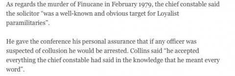 Except from Article referencing Pat Finucane/John Hermon/Gerry Collins